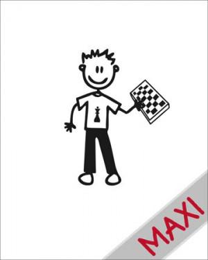 Bambino con scacchiera - Maxi Adesivi Famiglia per Camper