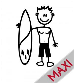 Papà con surf - Maxi Adesivi Famiglia per Camper