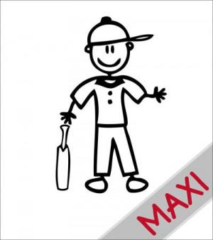 Papà giocatore di cricket - Maxi Adesivi Famiglia per Camper