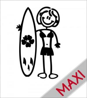 Mamma con surf - Maxi Adesivi Famiglia per camper