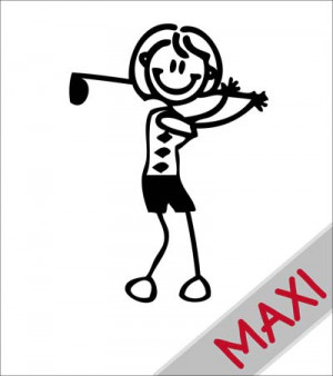 Mamma con mazza da golf - Maxi Adesivi Famiglia per camper