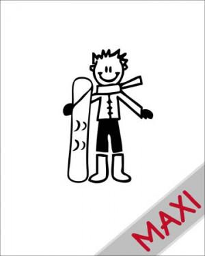 Bambino con lo snowboard - Maxi Adesivi Famiglia per Camper