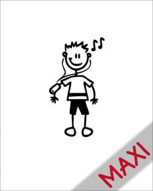 Bambino con lettore di mp3 - Maxi Adesivi Famiglia per Camper