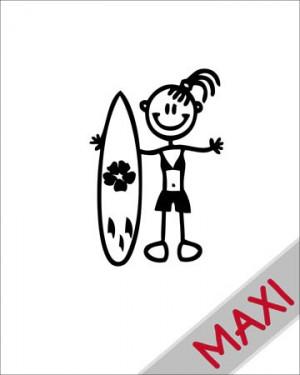 Bambina con surf - Maxi Adesivi Famiglia per Camper