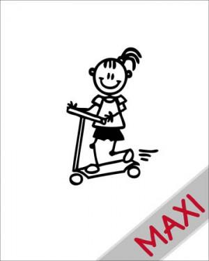 Bambina sul monopattino - Maxi Adesivi Famiglia per Camper
