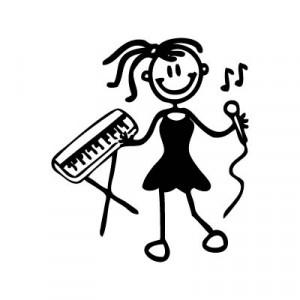 Bambina musicista - Adesivi Famiglia