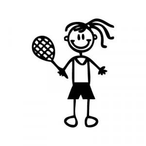 Bambina tennis - Adesivi Famiglia