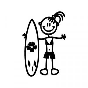 Bambina con surf - Adesivi Famiglia