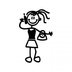 Bambina con telefonino - Adesivi Famiglia