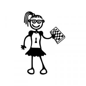 Bambina con gli scacchi - Adesivi Famiglia