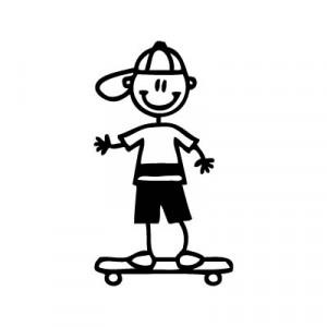 Bambino su skateboard - Adesivi Famiglia