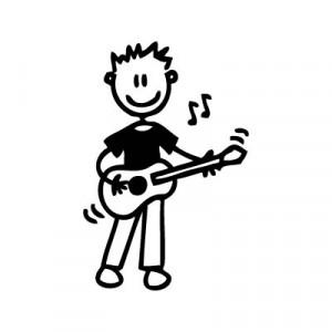 Bambino con la chitarra - Adesivi Famiglia