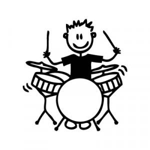 Bambino con la batteria - Adesivi Famiglia
