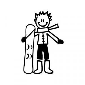 Bambino con lo snowboard - Adesivi Famiglia