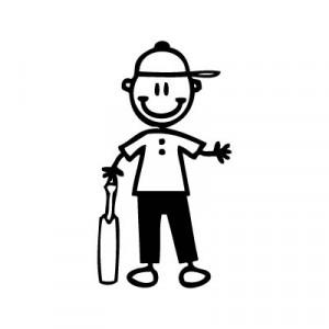 Bambino giocatore di cricket - Adesivi Famiglia