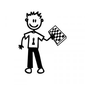 Bambino con scacchiera - Adesivi Famiglia
