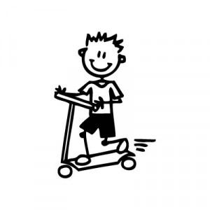 Bambino con monopattino - Adesivi Famiglia