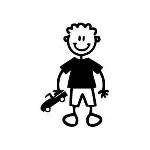 Bambino con automobilina - Adesivi Famiglia