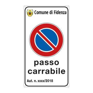 """Cartello """"Passo Carrabile"""" personalizzabile con stemma"""