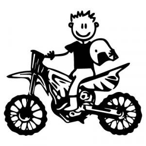 Papà con la moto da cross - Adesivi Famiglia