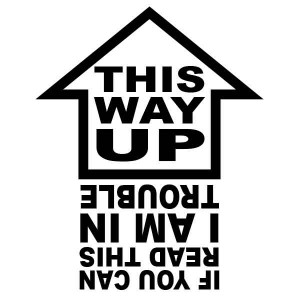 "Adesivo ""This way UP"" (inglese)"