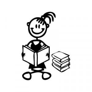 Bambina con libri - Adesivi Famiglia