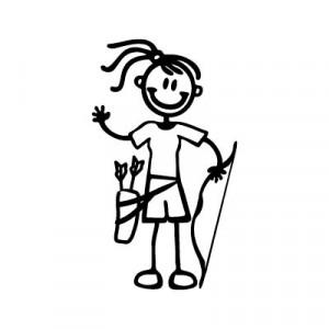 Bambina con l'arco - Adesivi Famiglia