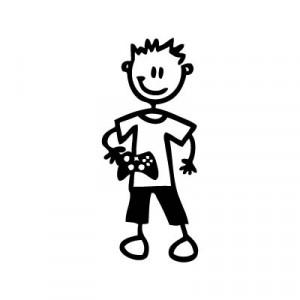Bambino con videogioco - Adesivi Famiglia
