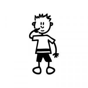 Bambino con dita nel naso