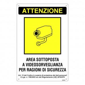 """Cartello """"Area sottoposta a Videosorveglianza per Ragioni di Sicurezza"""""""