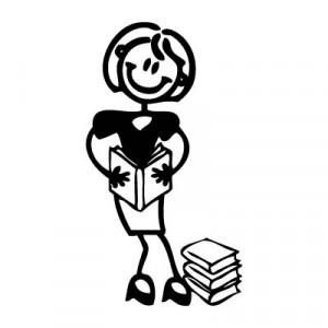 Mamma con libri - Adesivi Famiglia