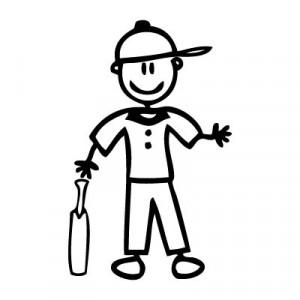 Papà giocatore di cricket - Adesivi Famiglia