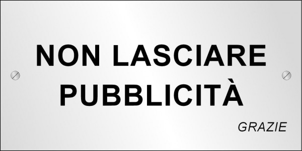 Targhetta metallica No Pubblicità (200x100 mm)
