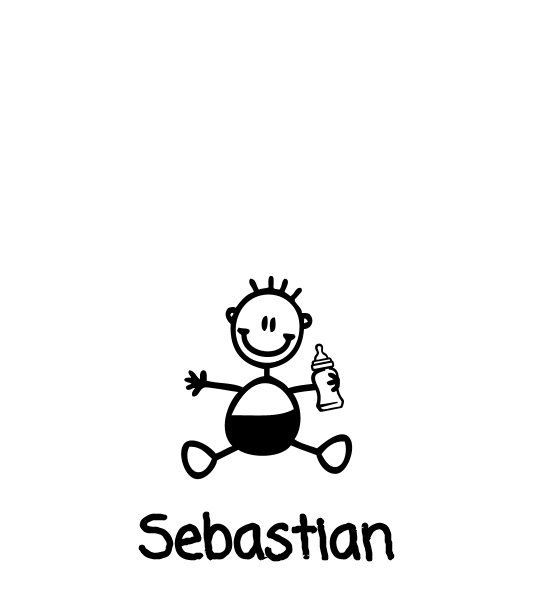 Neonato con biberon - Adesivi Famiglia