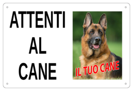 """AC005 - """"Attenti al cane"""" con foto personalizzata"""