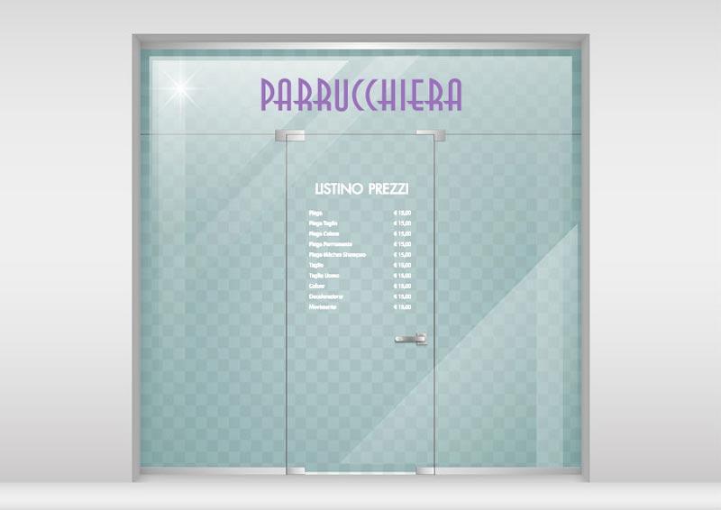 Listino prezzi adesivo applicato sulla porta della vetrina di un negozio
